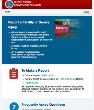 OSHA Online Reporting Goes Live